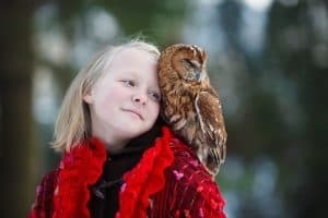 Girl with Owl Friends Moon Mercury Venus Aquarius