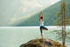 peaceful water mountain yoga 2