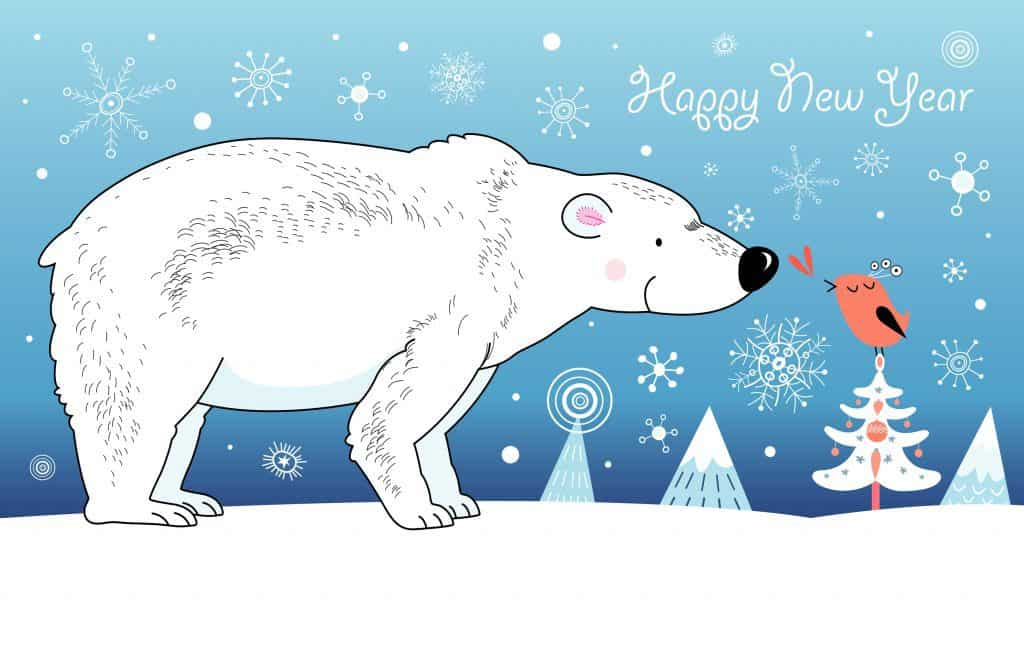 Открытки к новому году с белыми медведями